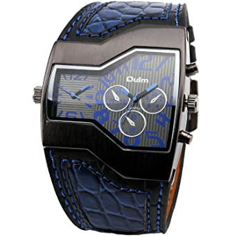 OULM Mens Fashion Leisure Casual Daily Quartz Wristwatch Blue Leather Strap Dual Dials Time Display Japan