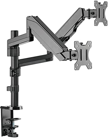 Mindful Design Dual Arm Monitor Mount - Heavy Duty Gas Spring Monitor Stand, Fits Screen Sizes 17 inch to 32 inch (Black)