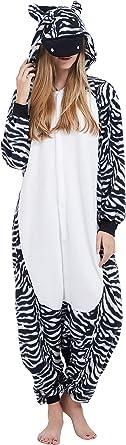 Kigurumi Pijama Animal Entero Unisex para Adultos con Capucha Cosplay Pyjamas Cebra Ropa de Dormir Traje de Disfraz para Festival de Carnaval ...