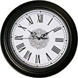Epy Huts Wall Clock Non Ticking Large Decorative Living Room,Bedrooms Clocks Antiquity European Style Roman Numeral Black 12 Inches …