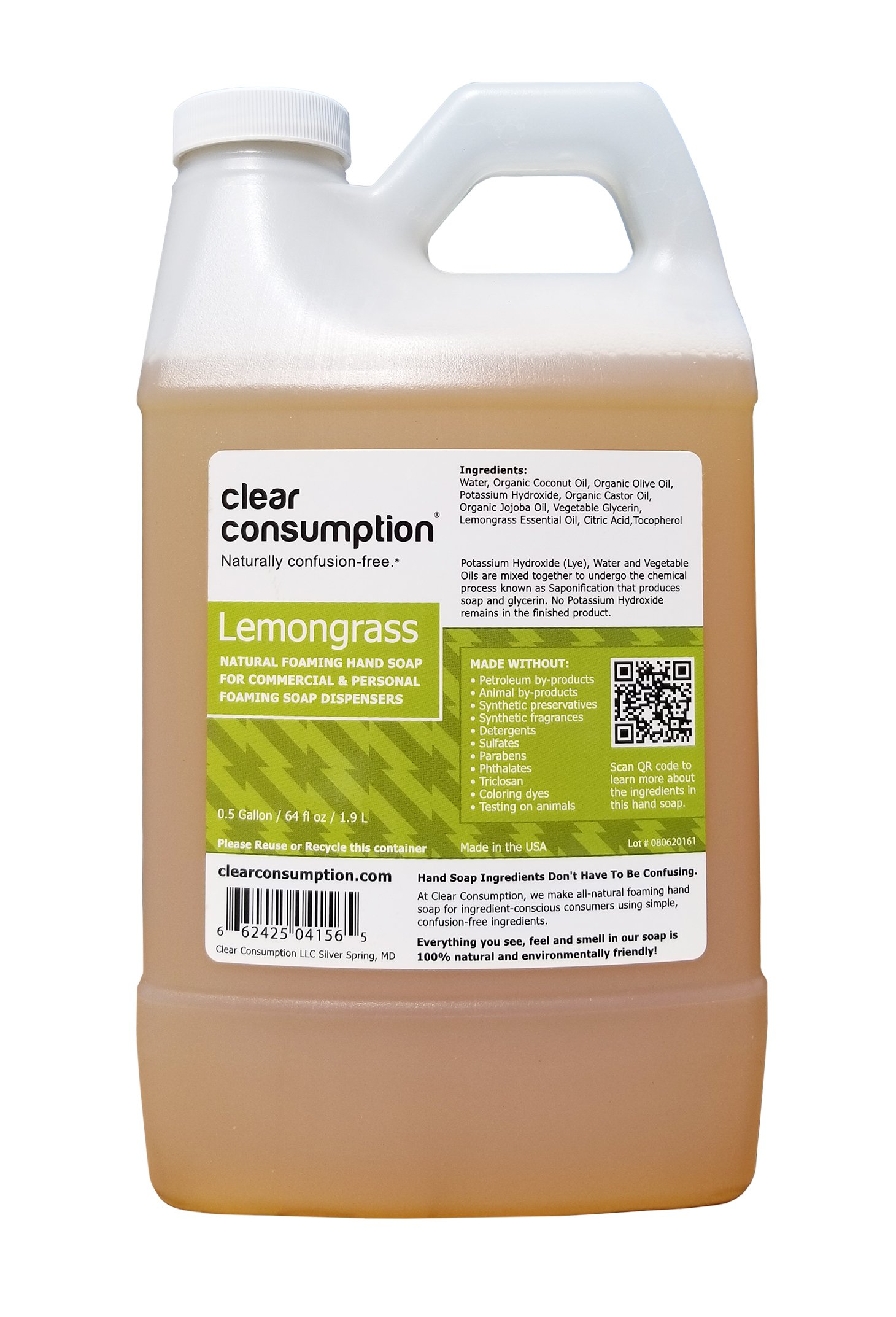 0.5 Gallon (64 oz) Lemongrass Clear Consumption Natural Foaming Hand Soap Refill - For Commercial & Personal Foaming Soap Dispensers