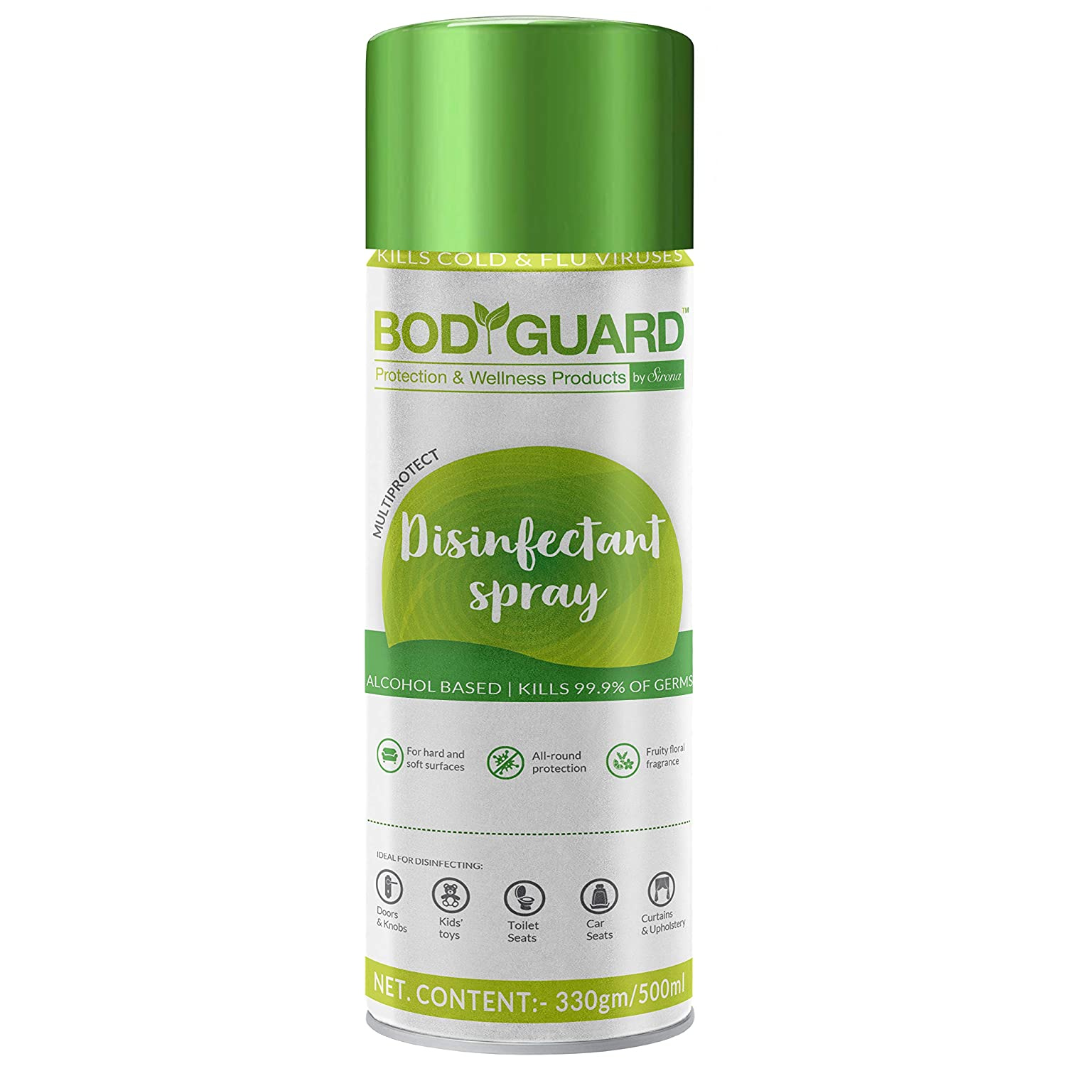 BodyGuard Disinfectant Sanitizer Spray for Multi-Surfaces, Alcohol Based - 500 ml