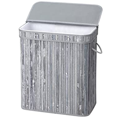 SONGMICS Bamboo Laundry Hamper 100L Storage Basket Foldable Dirty Clothes Bin Box with Lid Handles and Removable Liner Rectangular Distressed Gray ULCB63GW