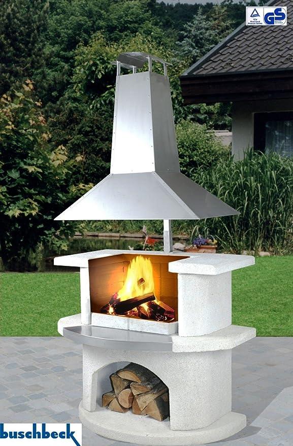 buschbeck – Jardín Parrilla chimenea Venecia con acero inoxidable Campana: Amazon.es: Jardín