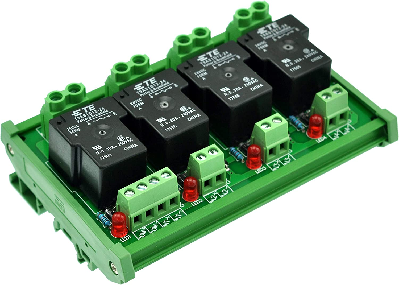 ELECTRONICS-SALON montaje en carril DIN bobina 24V pasivo 4canal SPST-NO 30A 30Amp Relé de potencia módulo.