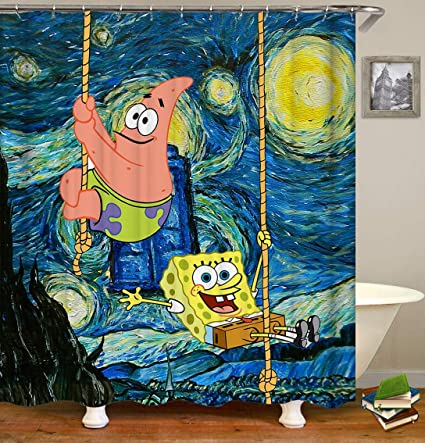 Occigant Home Decor Shower Curtain Spongebob And Patrick Star Rock Climbing On The Pattern Like Van Gogh S Sunflower Fabric Bathroom Set With