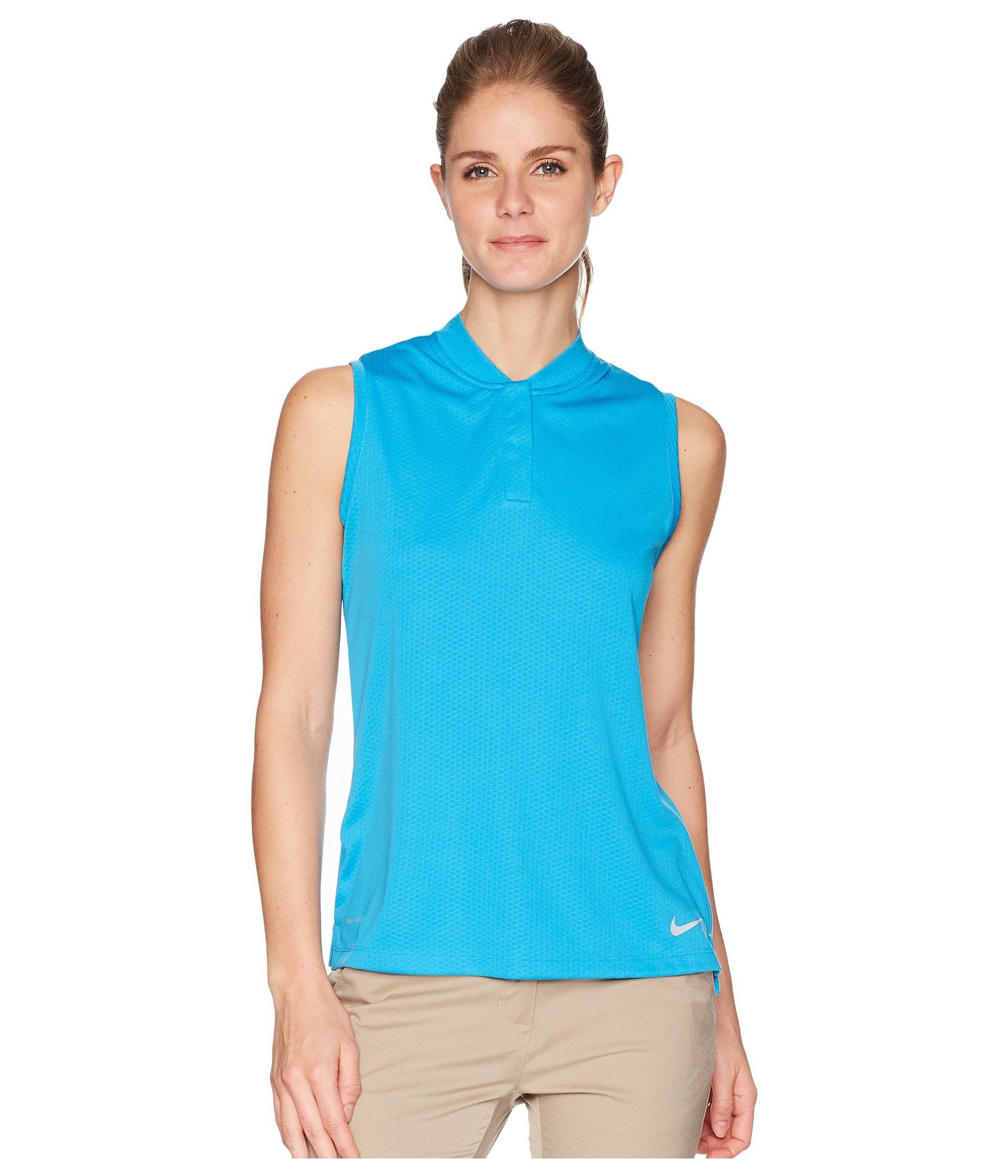 Nike Dri Fit Sleeveless Blade Collar Golf Polo 2018 Women Equator Blue/Flat Silver Medium by Nike