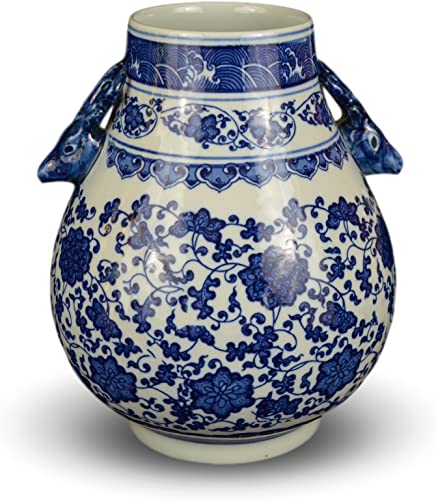 Classic Blue and White Floral Porcelain Vase