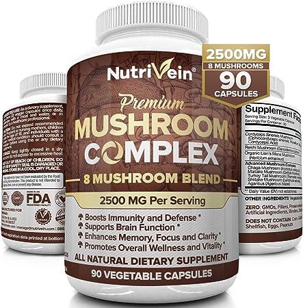Nutrivein Mushroom Supplement 2500mg - 90 Capsules - 8 Organic Mushrooms - Lions Mane, Cordyceps, Chaga, Reishi, Turkey Tail, Maitake, Shiitake, Agaricus - Immune System & Nootropic Brain Complex