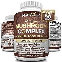 Nutrivein Mushroom Supplement 2500mg - 90 Capsules - 8 Organic Mushrooms - Lions...