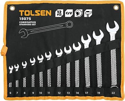 TOLSEN HW81-VCES Estuche de 12 llaves fijas (boca abierta y anillo de herramientas): Amazon.es: Bricolaje y herramientas
