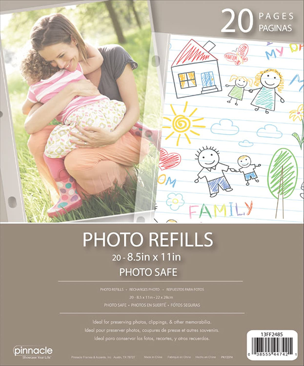 Pinnacle Frames and Accents Photo Album Refill Pages, 8.5-Inch by 11-Inch 13FF2485