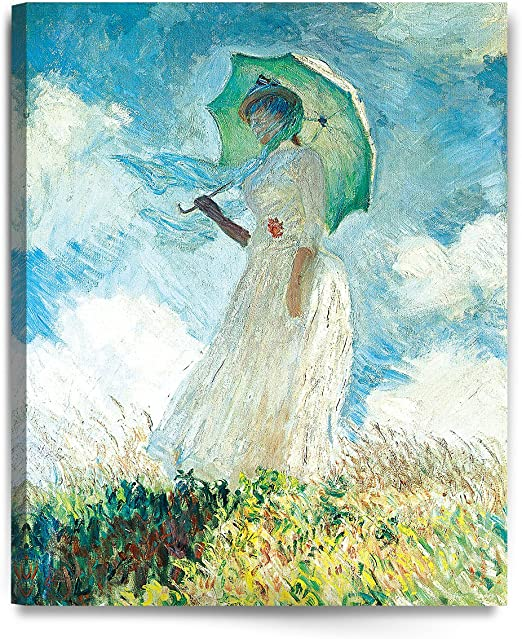1875 Claude Monet Woman With A Parasol The Stroll Impressionist Painting Poster