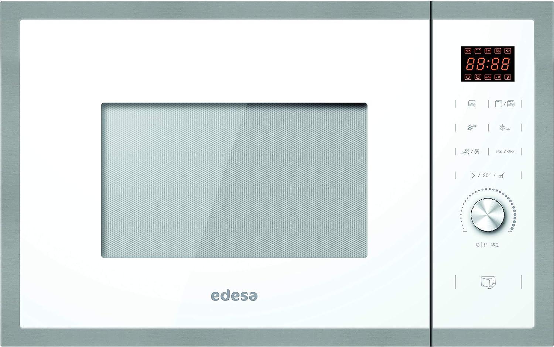 EDESA encastre | Modelo: EMW-2530-IG XWH | Microondas con Grill | Capacidad de 25 L | 5 Niveles de Potencia | Acabado en Cristal Blanco, 900 W, 25 litros, 63 Decibelios, Acero Inoxidable