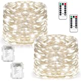 2 Set Fairy Lights Battery Operated Waterproof with Remote Control(Timer), Warmtaste 8 Modes 100 LED 33ft String Lights Copper Wire Firefly Lights for Bedroom Wedding Festival Decor