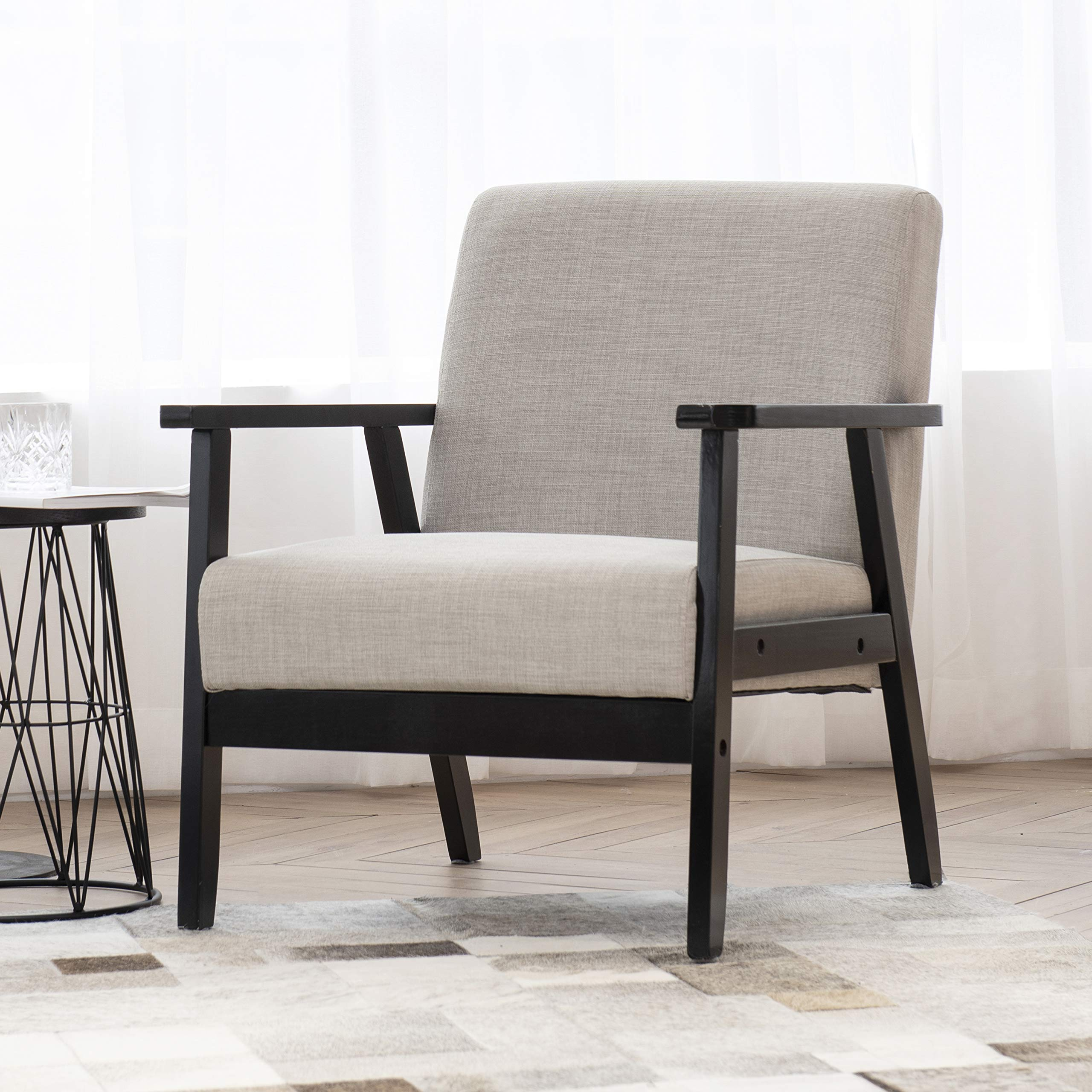 Art Leon Modern Fabric Upholstered Accent Chair,Solid Wood Frame Low Lounge Armchair for Living Room Bedroom Reception Apartment Dorms,Grey by Art Leon