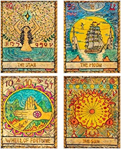 ANPHSIN 4 Pcs Tarot Tapestry- Astrology Europe Divination Tapestry- Wheel of Fortune, The Sun, The Moon, The Star Mysterious Medieval Wall Hanging Tapestries for Home Room Decor