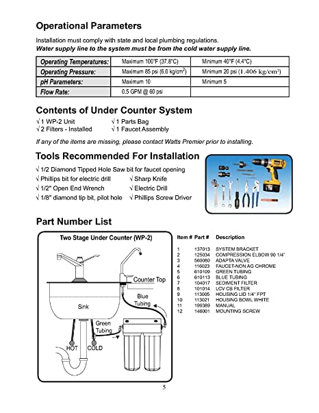 Watts 500313 2-Stage Undercounter Lead, Cyst & VOC Reducing ...