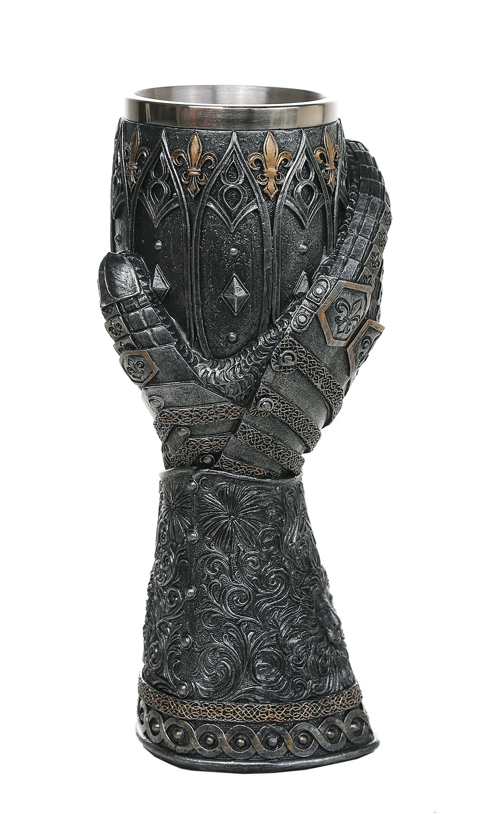 Pacific Giftware Medieval Knight Lions Heart Gauntlet Style Wine Goblet 9'' H