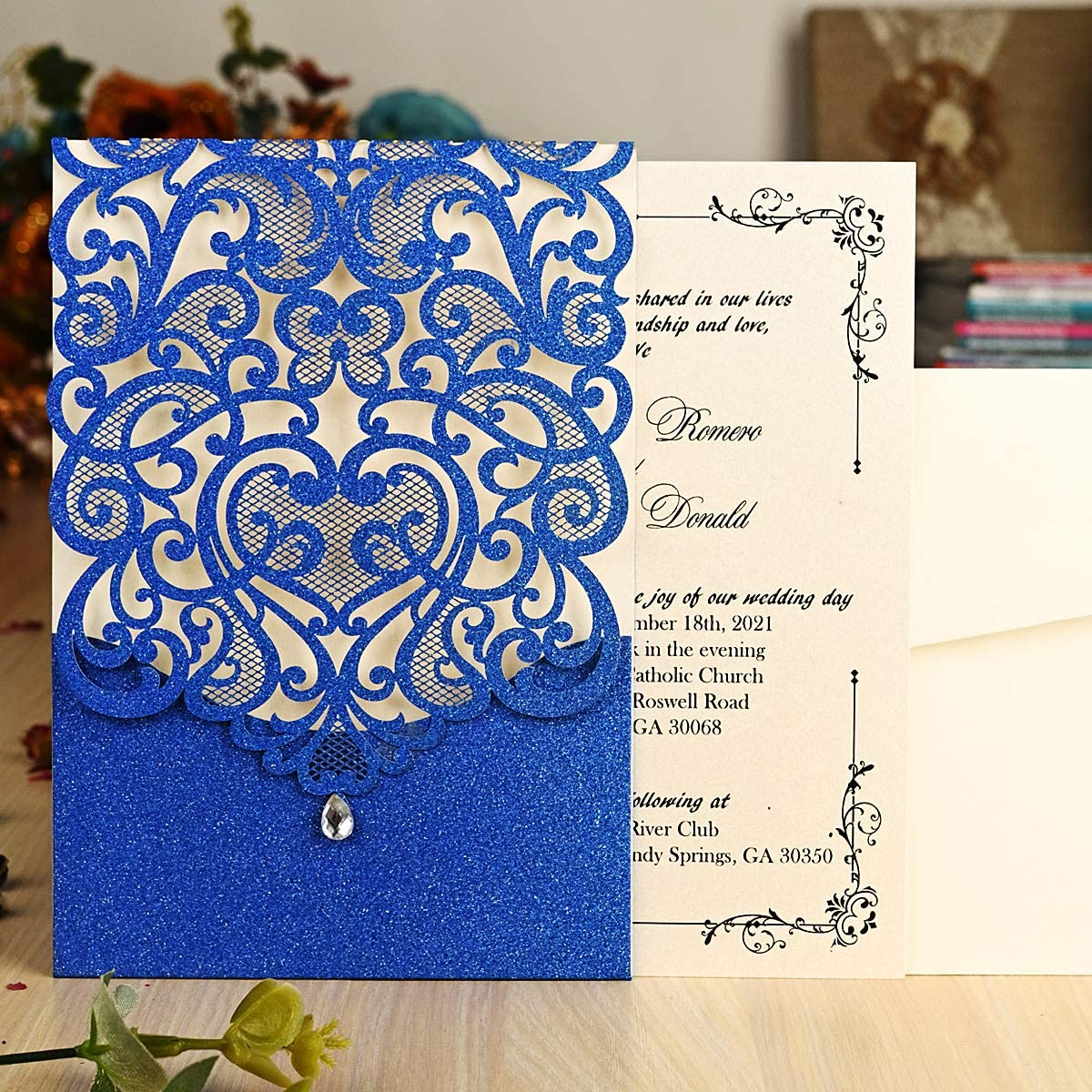 Amazon.com: Hosmsua 20x Wedding Invitations Cards Laser Cut Hollow Rose  with Rhinestone for Bridal Shower Engagement Birthday Graduation Invite (Royal  Blue Glitter): Health & Personal Care
