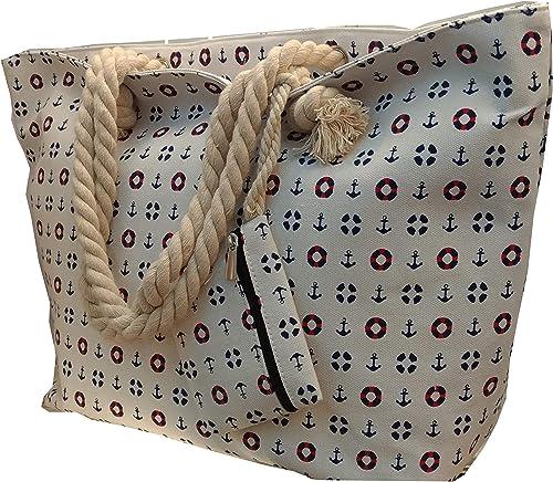 LeBag Giò - Bolsa de viaje de algodón para la playa, con correa para el hombro, bolsa de viaje + monedero con cierre de cremallera para mujer y niña, Bianco2 (Blanco) -