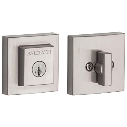 Baldwin Spyglass Single Cylinder Square Deadbolt for Front Door and Garage  Door Featuring SmartKey Security in Satin Nickel, Prestige Series with a