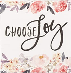 Choose Joy Floral 3 x 3 Inch Solid Pine Wood Rustic Magnet