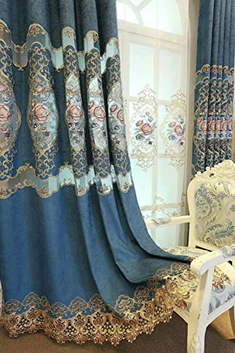 Luxury Hollowed Floral Embroidered Curtains 96 Inches Long