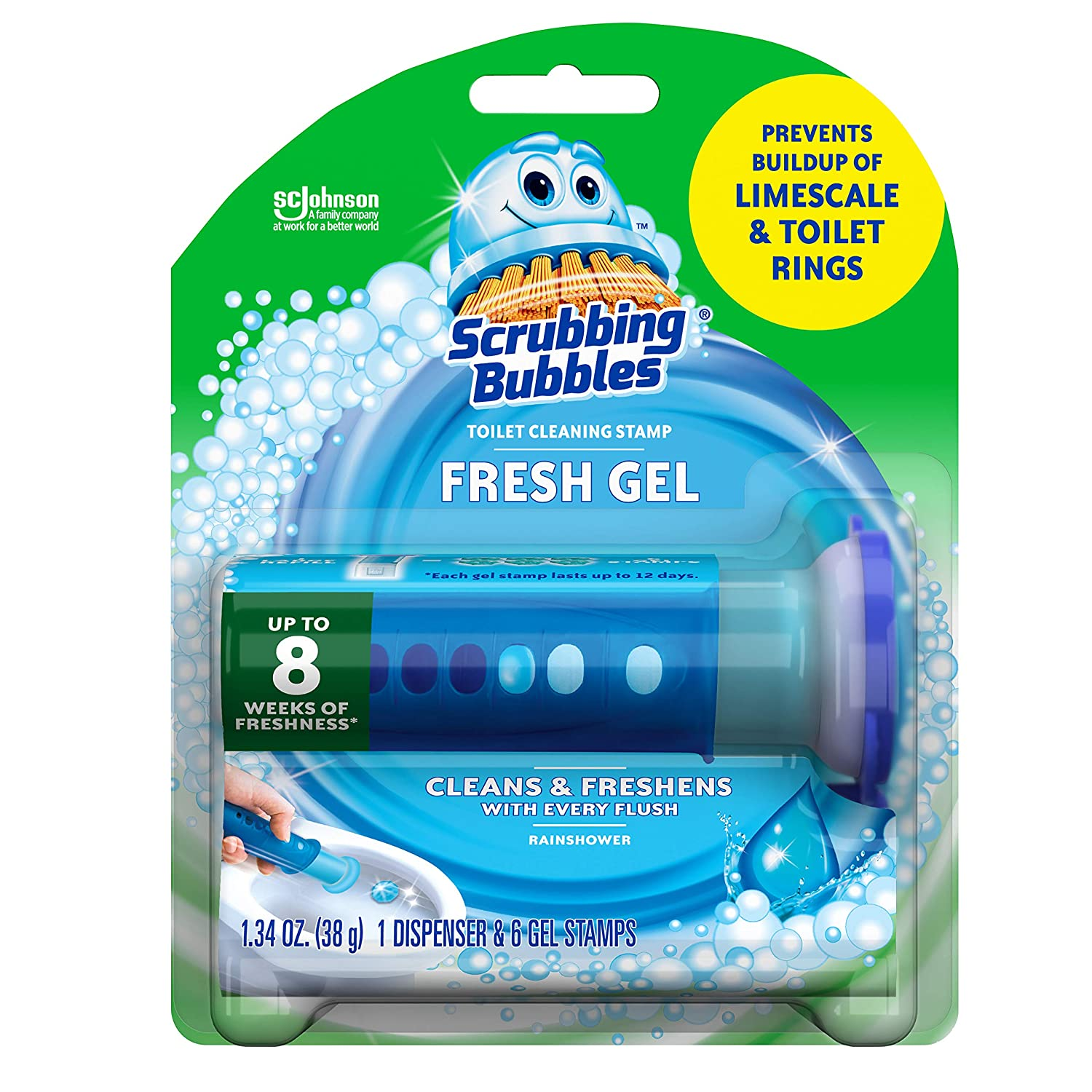 Scrubbing Bubbles Fresh Gel Toilet Bowl Cleaning Stamps, Gel Cleaner, Helps Prevent Limescale and Toilet Rings, Rainshower Scent, 6 Stamps