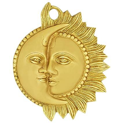 Buy ITOS365 Brass Sun Moon Wall Hanging Sun Mask Religious Half Face ...