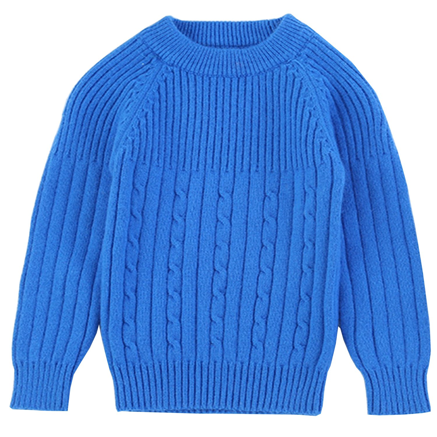 Euno Autumn and Winter Boy's Solid color round neck Natural cashmere Pullover Sweater Blue B140