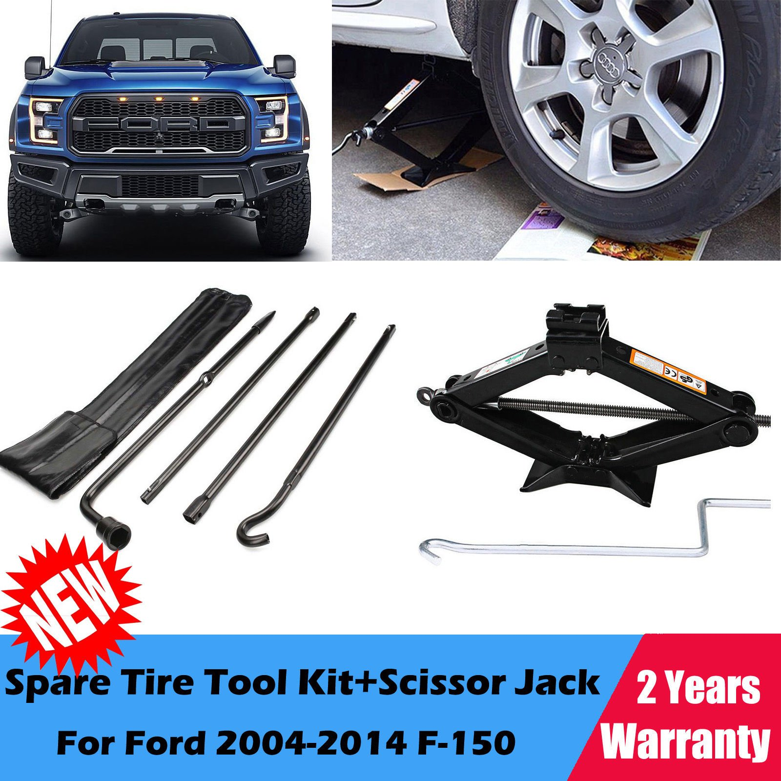 For 2004-2014 Ford F-150 Spare Tire Tool Kit and 2 Ton Scissor Jack , 2 Year Warranty , US Stock