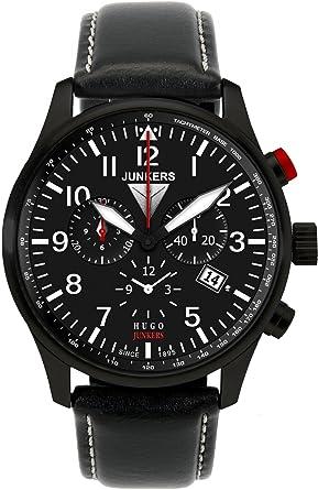 Junkers 6680-2 - Reloj cronógrafo de Cuarzo para Hombre, Correa de Cuero Color Negro: Amazon.es: Relojes