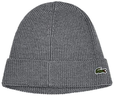 10cc35f48e4 Lacoste Men s Ribbed Beanie with Flap Accessories  Amazon.co.uk  Clothing