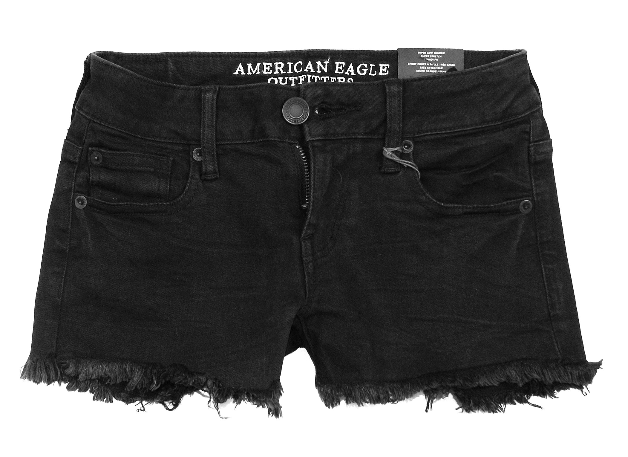 American Eagle Women's Super Low Rise Shortie Shorts W-24 (00, 4715 Black)