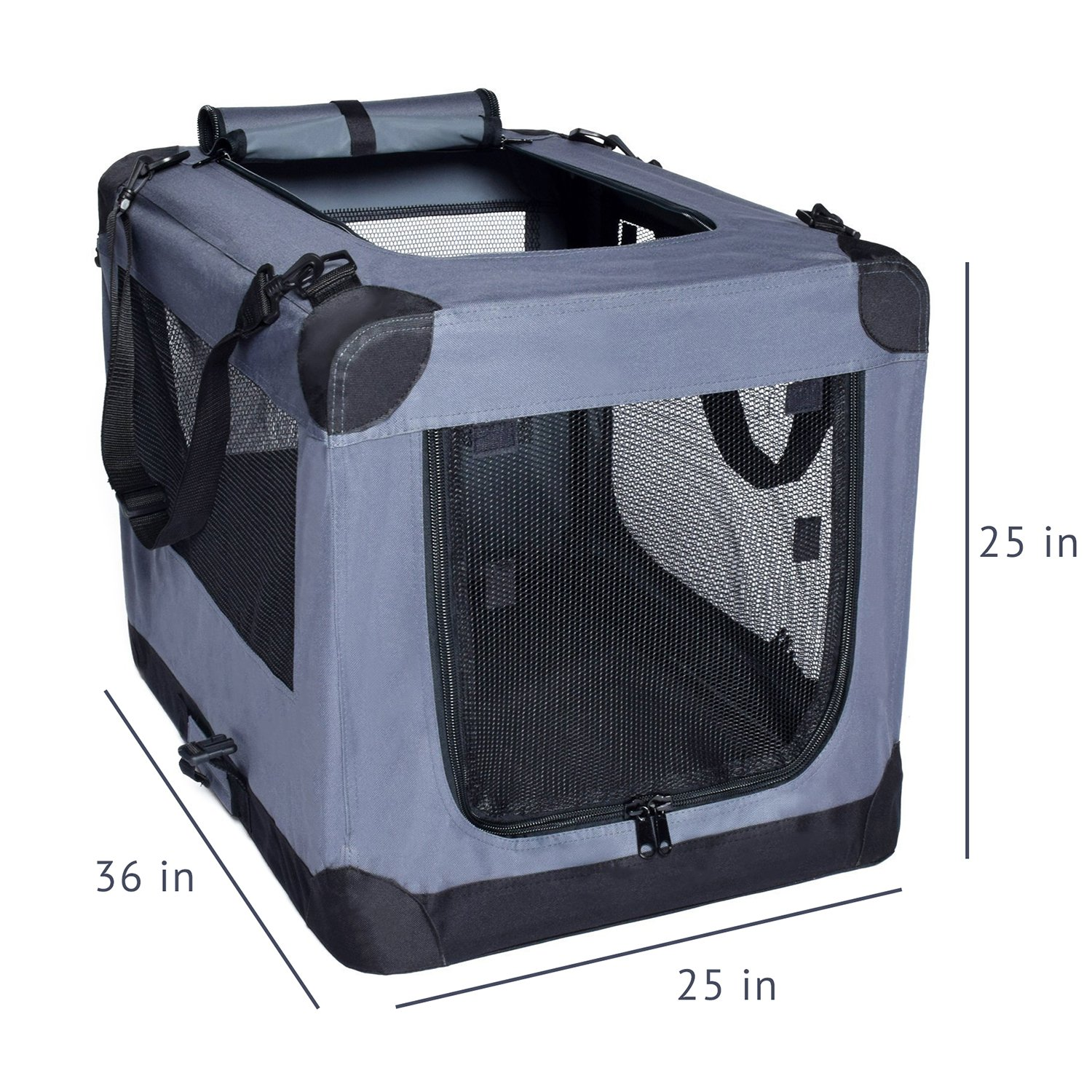 Arf Pets Dog Soft Crate 36 Inch Kennel for Pet Indoor Home & Outdoor Use - Soft Sided 3 Door Folding Travel Carrier with Straps by Arf Pets (Image #2)
