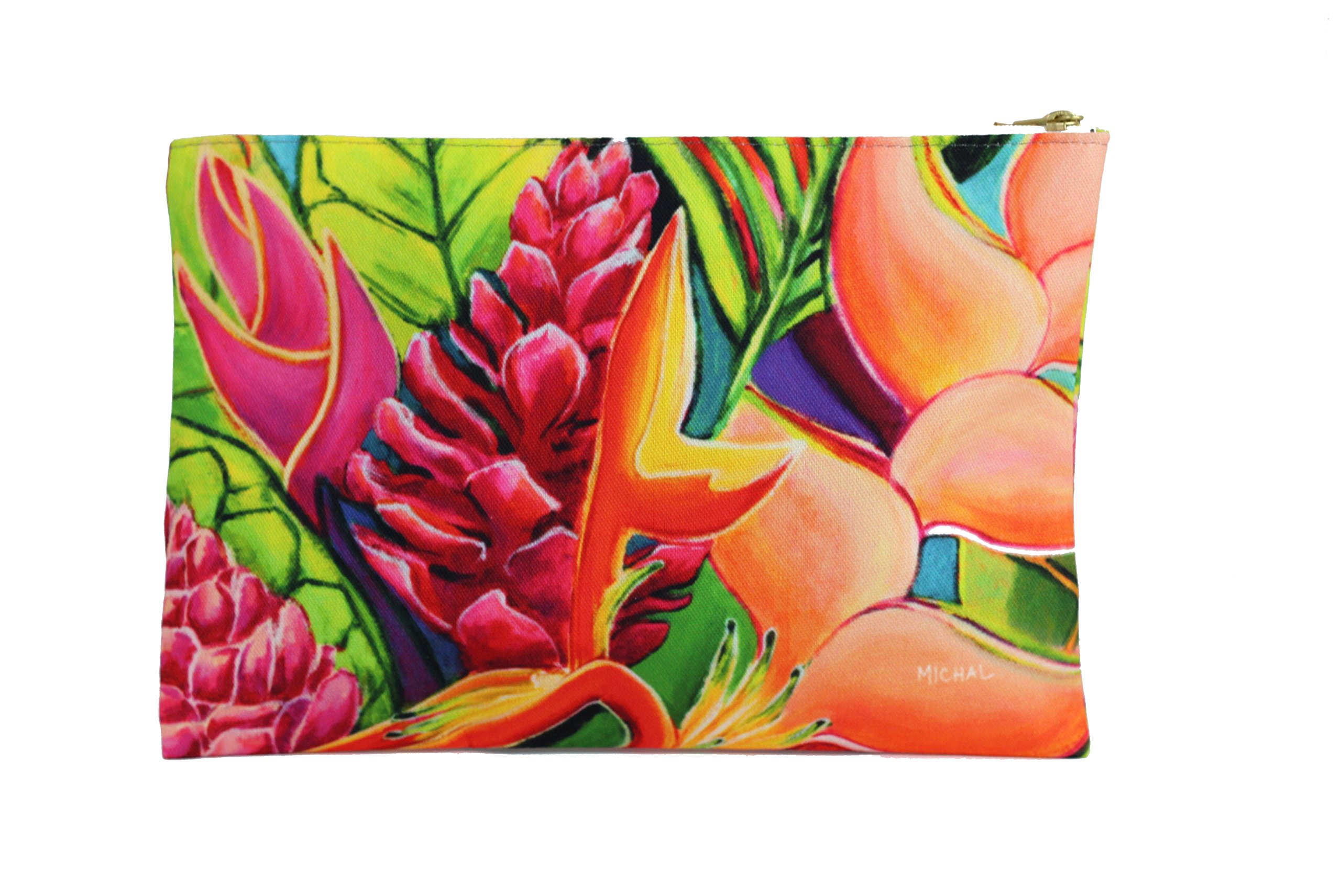 Hawaii Clutch Tropical Unique Hand Bag by MICHAL - Contemplation Flowers - Kauai - 12.5x8.5'' - Hawaii art, island style, everything fits in