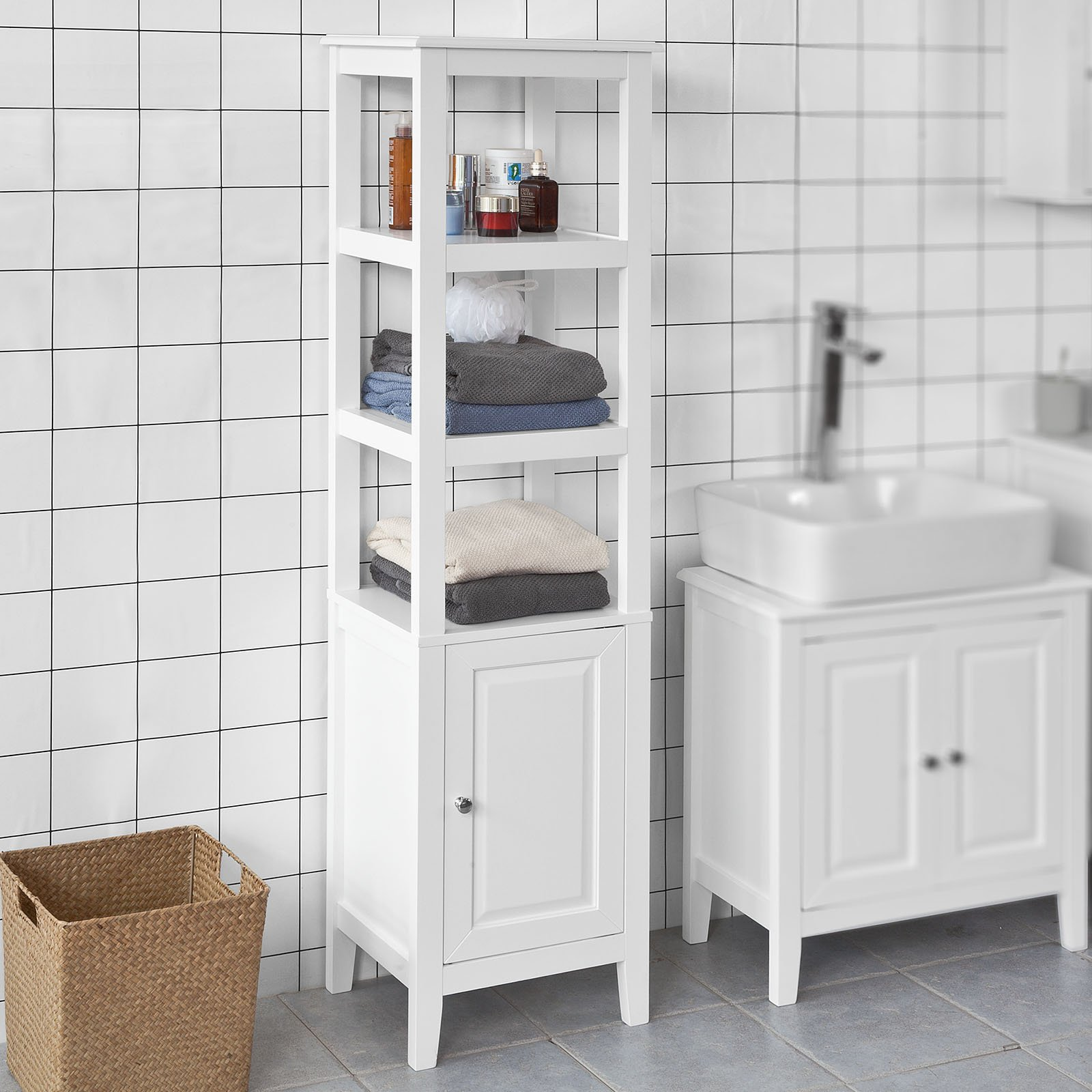 Haotian White Floor Standing Tall Bathroom Storage Cabinet with 3 Shelves and 1Door,Linen Tower Bath Cabinet, Cabinet with Shelf (FRG205-W)