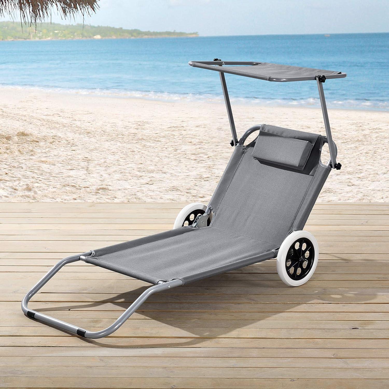 casa.pro] Tumbona con 2 Ruedas 146 x 52 x 15 cm Silla de Playa con ...