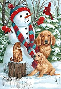 "Briarwood Lane Snow Day Friends Winter House Flag Dogs Cat Cardinal 28"" x 40"""
