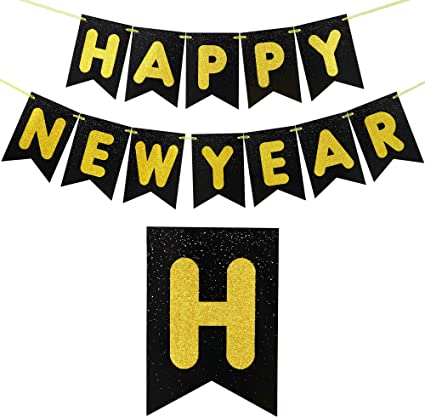New Years Eve Party Supplies 2021 Happy New Year Sign NYE Decorations 2021 Hello 2021 Cheers to 2021 Banner Black Glitter New Year Decorations 2021 Happy New Year Decorations 2021