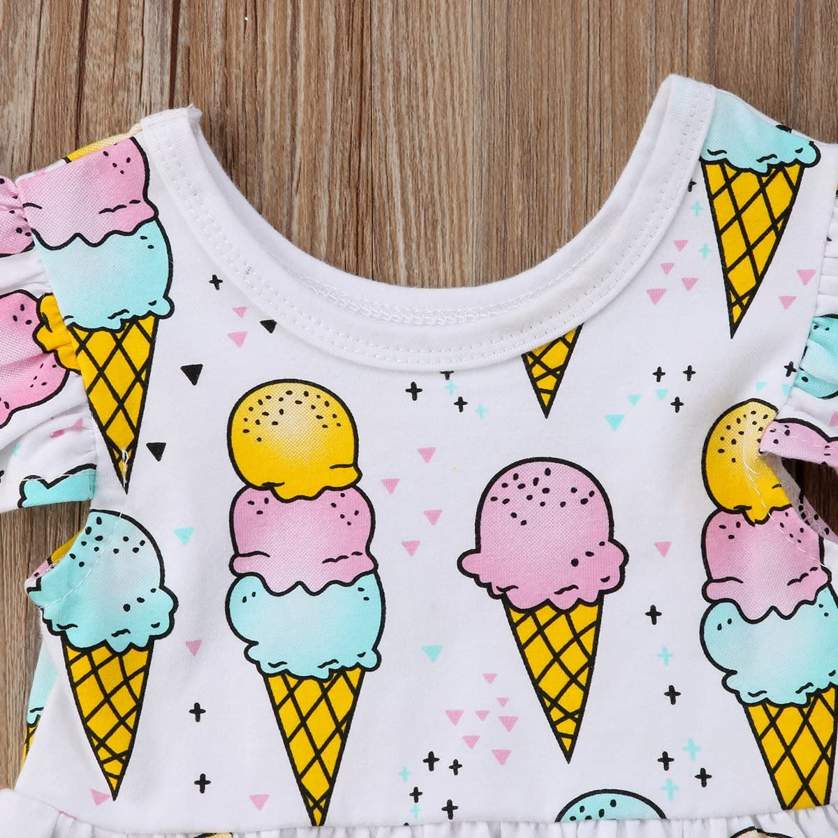Baby Girls Summer Fly Sleeve Ice-Cream Ruffle Dress Top and Shorts Outfit Set
