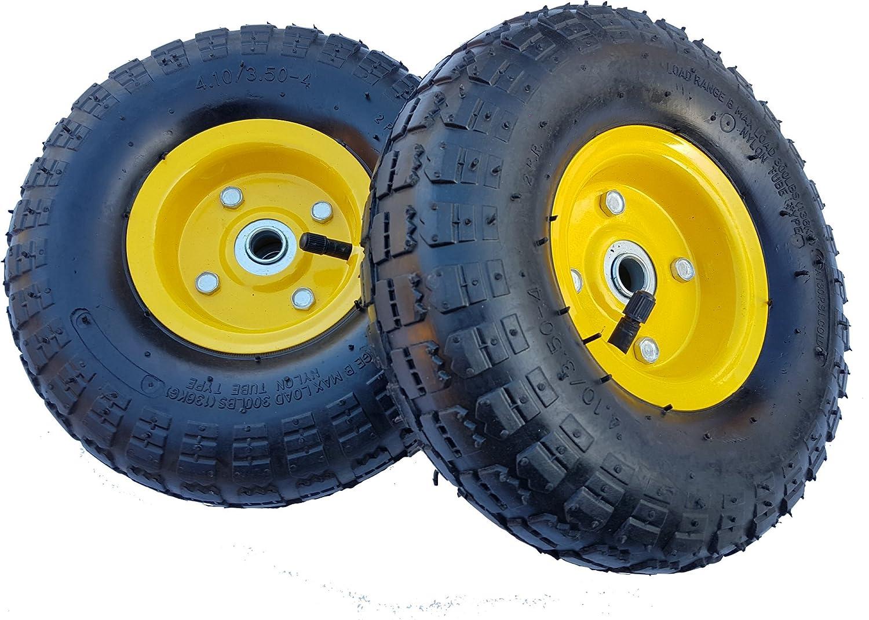 2 X Frosal Luftrad Bollerwagen Ø 260 Mm 4 10 3 50 4 Ersatzrad Reifen Sackkarre Achse 16 Mm Rad Mit Kugellager Stahlfelge Gelb Gewerbe Industrie Wissenschaft