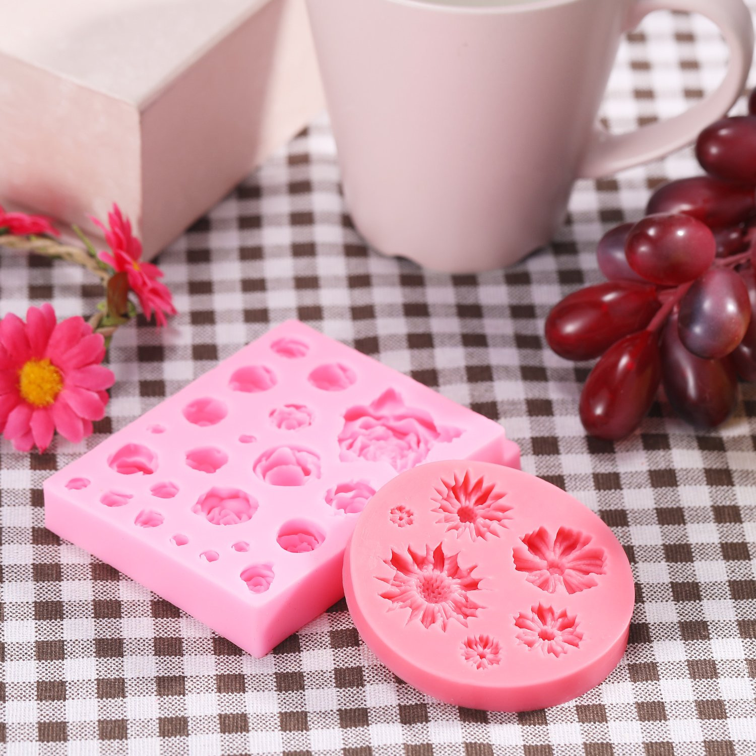 Amazon.com: BBTO 2 Pieces Flower Fondant Mold Roses Silicone Mold ...