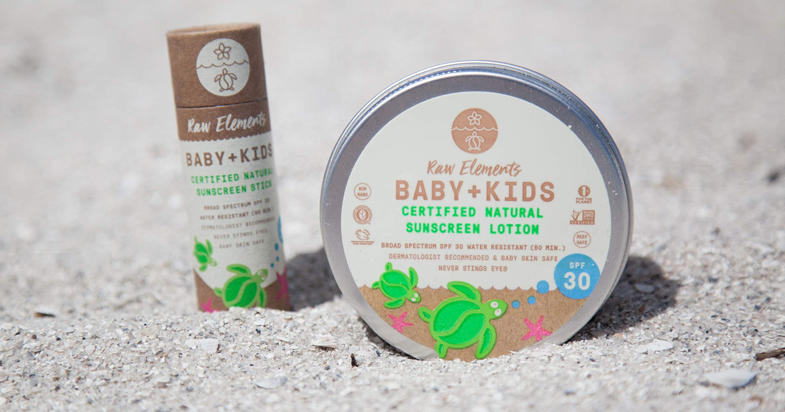 Raw Elements Baby + Kids SPF 30 Organic Sunscreen Lotion Non-Nano Zinc Oxide, Reef-Safe, Cruelty-Free, Gentle and Moisturizing, Zero Waste Tin, 3oz by Raw Elements