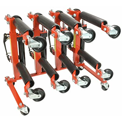 """(4) Dragway Tools Hydraulic Wheel Dolly 12"""" Wide Lift Jack Hoist 1500 lb Shop Tool Foot Pump and Storage Stand"""