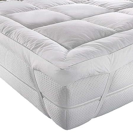 Colchoneta A&R para parte superior de colchón, microfibra, calidad de hotel, 5 cm, cosida, hipoalergénico, en todos los tamaños, Blanco, matrimonio