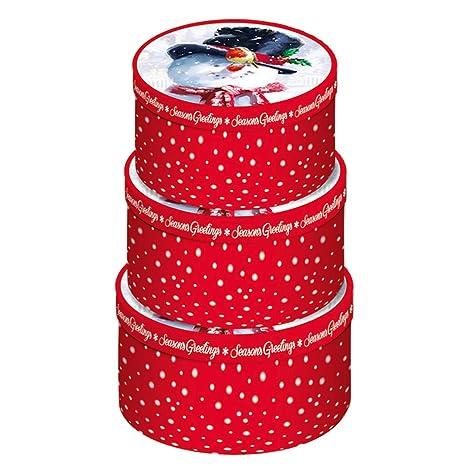 Eurowrap - Cajas redondas diseño navideño (Juego de 3) (Juego de 3/