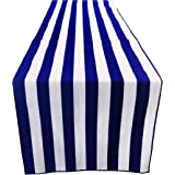 """ArtOFabric Decorative Cotton 1 Inch Navy Blue and White Stripped Table Runner. 12"""" X 70"""""""