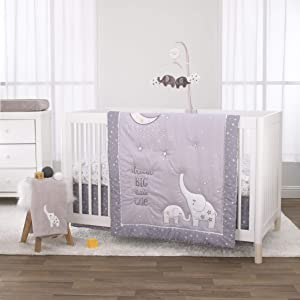 NoJo 3 Piece Crib Bedding Set and Dust Ruffle, Dream Big Little Elephant, Grey/White/Gold